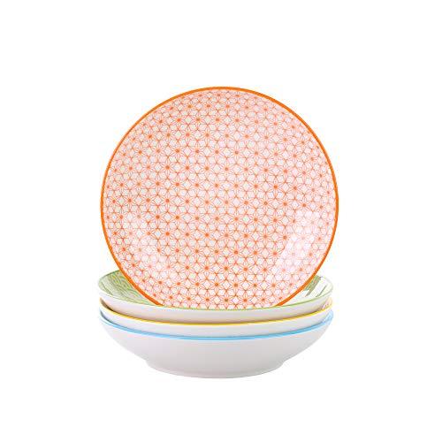 Vancasso Natsuki 4-teilig Porzellan Suppenteller, Ø 21,5 cm Tiefteller