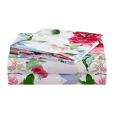 "JSD Floral Print Sheet Set King, 4 Piece Brushed Microfiber Hotel Quality Bedding Sheets 15"" Extra Deep Pocket, Soft Durable Wrinkle Free"