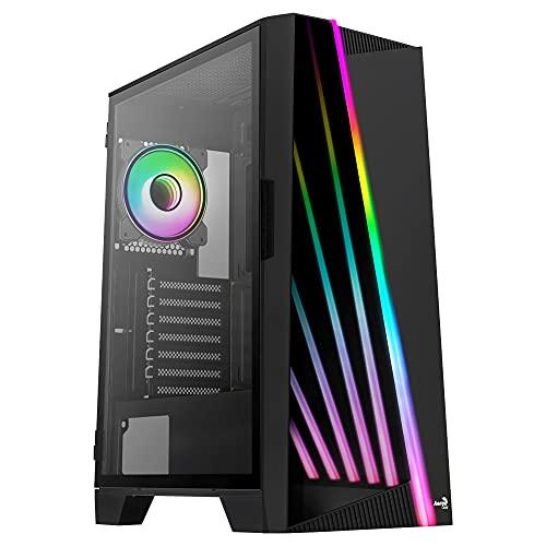 Aerocool MIRAGEBK, Caja PC ATX, Frontal LED, Cristal Templado, Ventilador ARGB 12cm, Negro