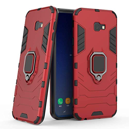 Galaxy J4 Plus Case DWaybox Iron Man Design 2 in 1 Hybrid Heavy Duty Armor Hard Back Case Cover with Ring Holder for Samsung Galaxy J4 Plus/J4 Prime 2018 6.0 Inch (Red)