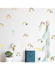 Pegatinas de pared para decoración de dibujos animados de estilo nórdico, multicolor para habitación de niños, dormitorio, jardín de infancia, diseño de fondo A5 (14,7 x 20,8 cm) x 12 hojas