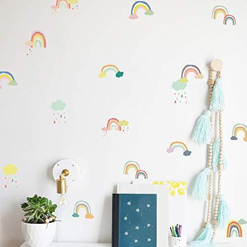 DIY Cartoon Rainbow Decor pegatinas de pared estilo nórdico multicolor habitación infantil dormitorio jardín de infantes diseño de fondo decoración del hogar pegatinas A5