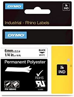 DYMO Rhino Permanent Adhesive Polyester Label Tape, 1/4 Inch