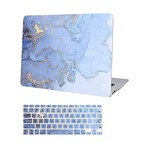 MOSISO MacBook Air 13 inch Case A1369 A1466, Older Version 2017 2016 2015 2014 2013 2012 2011 2010 Release, Plastic Hard Shell, Keyboard Cover Compatible with MacBook Air 13, Blue Watercolor Marble