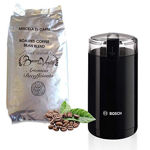 Bosch TSM6A013B - Molinillo de café eléctrico, 180 W, capacidad 75 gramos + ¡REGALO! Café Grano Italiano Descafeinado ''ARTEMISA'' Marca BOCCA DELLA VERITA