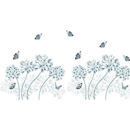 Wandtattoo für Wohnzimmer, Blauer Löwenzahn Wandsticker als Wanddekoration für Schlafzimmer Kinderzimmer 70cm×170cm Wand Aufkleber | Deko Wandtattoo für Wand Fenster Möbel/Schrank Küche Flur