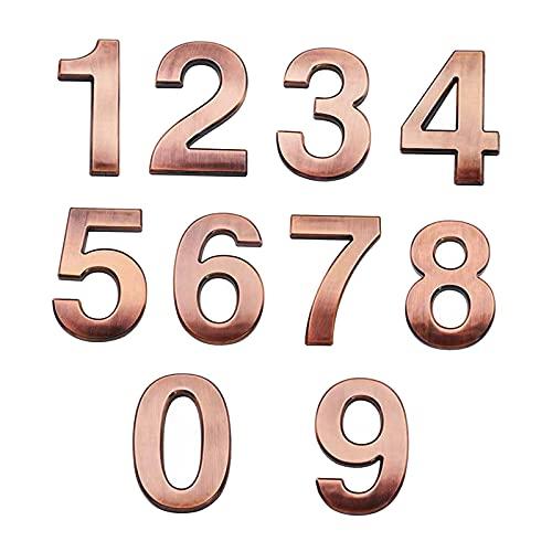 Gazechimp Letrero de Placa de número Digital de 10 Piezas Número de Placa de señalización Digital Número de Puerta de habitación para Puerta de Hotel de casa - Bronce