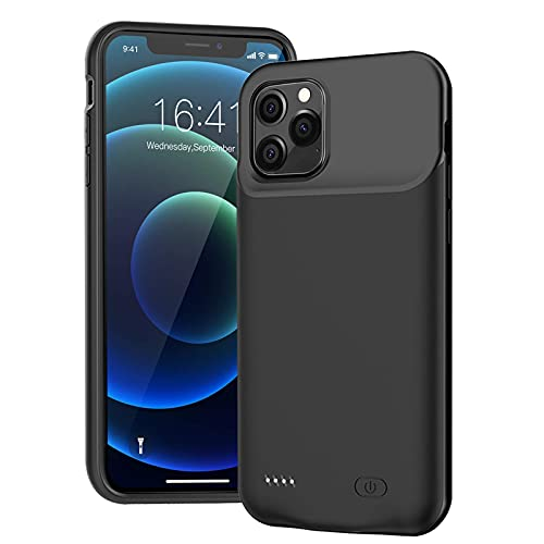 Battery Case for iPhone 12 Pro, 7000mAh Ultra-Slim Portable Charger Case Rechargeable Battery Pack Charging Case Compatible with iPhone 12 Pro (6.1 inch)-Black