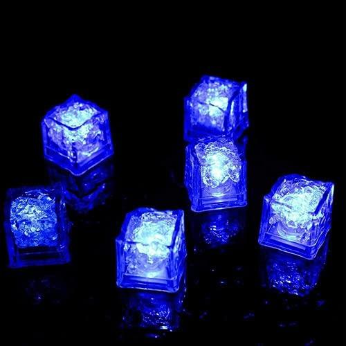 Aiiwqk LED Cubos de Hielo LED Beber Vino Whisky Color Reemplazo Lámpara Multicolor, Cubos de Hielo LED Sensor de líquido Agua activada 12pcs / Azul