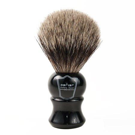 "Parker Safety Razor""Long Loft"" 100% Pure Badger Bristle Shaving Brush with Ebony Handle & Free Stand"