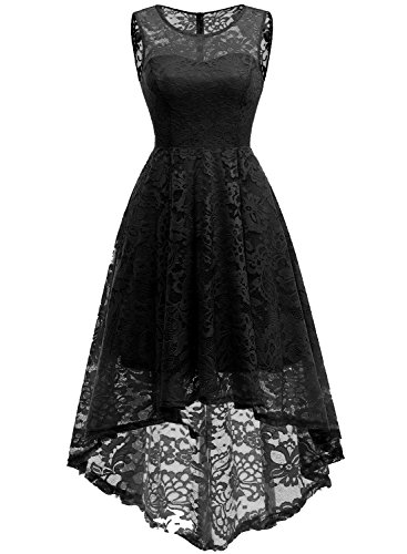 MuaDress 6006 Elegante Abendkleider Cocktailkleider Damenkleider Brautjungfernkleider aus Spitzen Knielange Rockabilly Ballkleid Rund Ausschnitt Schwartz S