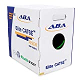 Cat6 CMR Riser (CAT6e) Ethernet Cable 1000ft, 24AWG, Solid Bare Copper Wire, 600MHz, w/Spline(Noise Reducing Cross Separator), UL Certified, Bulk LAN Cable - Green