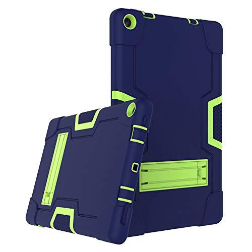 Cherrry for Amazon Fire HD 10 Tablet Case,Heavy-Duty Drop-Proof and Shock-Resistant Hybrid case(with Built-in Stand), for Amazon Fire HD 10 (7th Gen 2017 and 9th Gen 2019 Release) (Navy+Green)