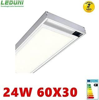 LEDUNI ® Panel Ultrafino LED 24W 60X30 Con Kit de Superficie Completo Color Blanco Frío 6000K Angulo 120 IP40 OPAL Borde Blanco