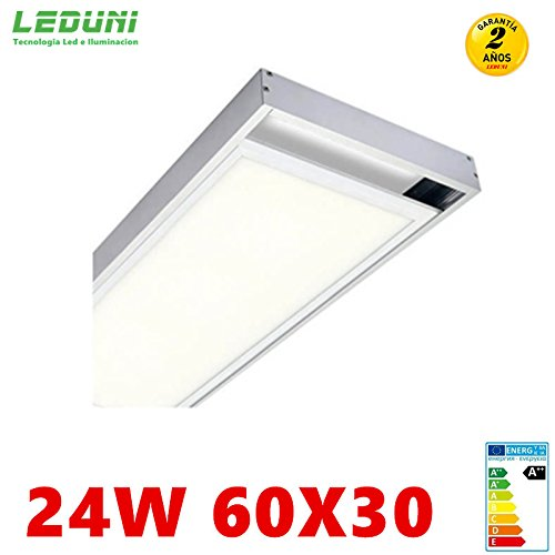 LEDUNI  Panel Ultrafino LED 24W 60X30 Con Kit de Superficie Completo Color Blanco Frío...