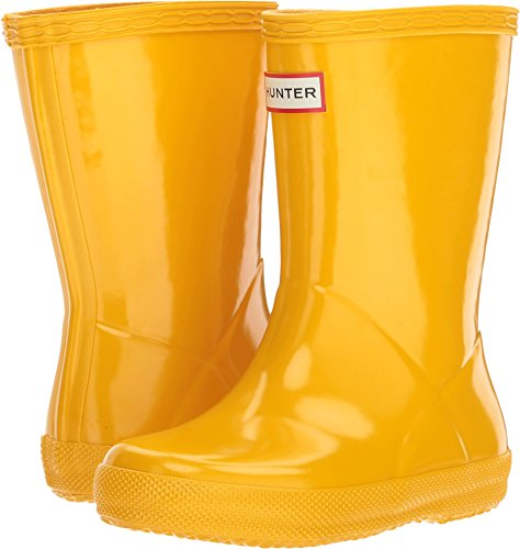 Hunter Botas de lluvia clásicas para niños, color Amarillo, talla 9.5 UK Child