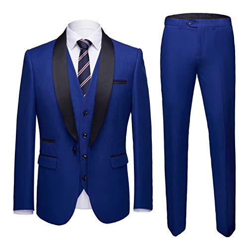 MYS Mens 3-Piece Suit Shawl Lapel One Button Tuxedo Slim Fit Premium Dinner Jacket Vest Pants & Tie Set Blue