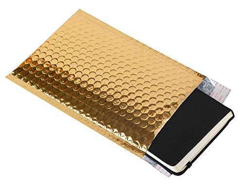 AMZ Bubble Mailers 5 x 9 Pack of 25 Gold Padded Envelopes 5x9. Self-Adhesive Closure. Metallic Shipping Bags for Mailing, Packing #00 25 Pack Photo #2