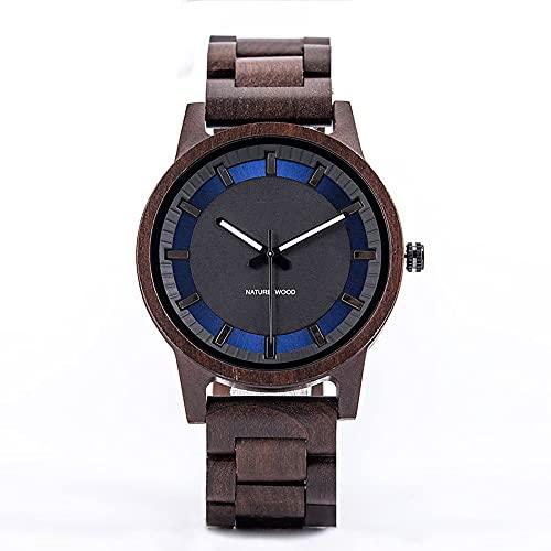 yuyan Reloj de madera, para hombre, simple, hecho a mano, movimiento japonés, esfera azul, reloj de mujer, elegante lujo, salud natural, día festivo