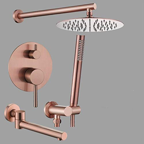 Grifo baño ducha baño termostático juego de rociador oculto cepillo rosa dorado estilo latón rueda de lluvia,V4EFX8C8