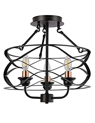 Ceiling Light Vintage Semi-Flush Mount Close to Ceiling Lighting Fixtures Farmhouse 3-Lights Chandeliers Industrial Black for Kitchen Dinning Living Room