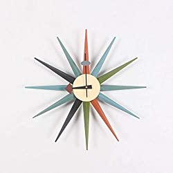 LFDHSF Home Clock Classic Sunburst Wall Clock Handmade Wooden Retro Antique Midcentury Multicolored Wall Clock,A,48cm