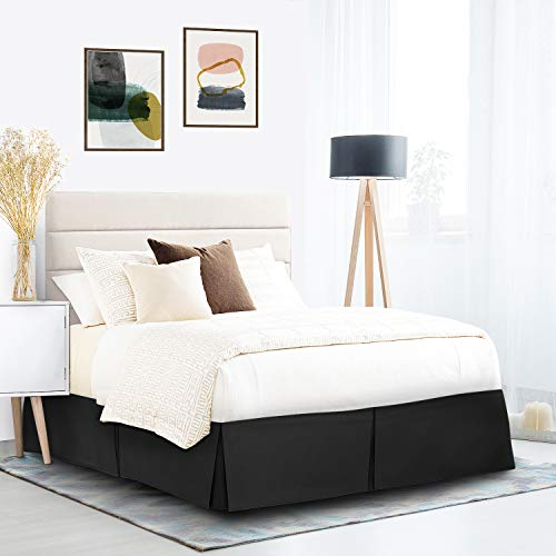 Nestl Bedding Double Brushed Microfiber Dust Ruffle, 14-Inch Tailored Drop Pleated Twin Bed-Skirt, Black