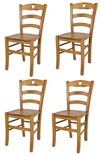 Tommychairs - Set 4 sedie modello Cuore per cucina bar e sala da pranzo, robusta struttura in legno di faggio color rovere e seduta in legno