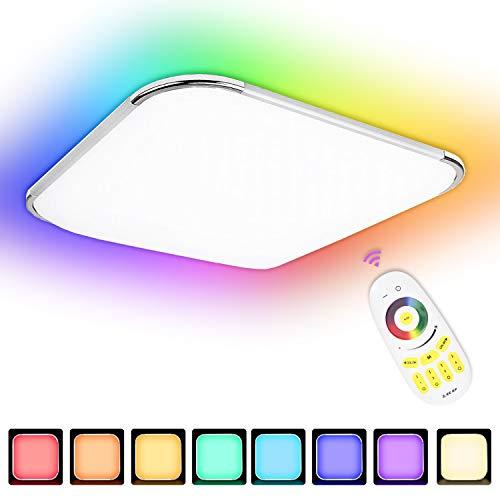 Hengda LED Deckenleuchte Flimmerfrei Wohnzimmerlampe IP44 für Wohnzimmer, Küche,Badezimmer usw (RGB Dimmbar, 64W)
