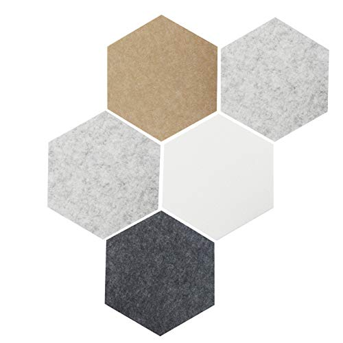 Hexagon Felt Board Tiles Bulletin Boards Pin Board Damage-Free to Wall with 40 Pins Large 10''×12'' for Enamel Pins Pictures as Office Home Decor(Grey)