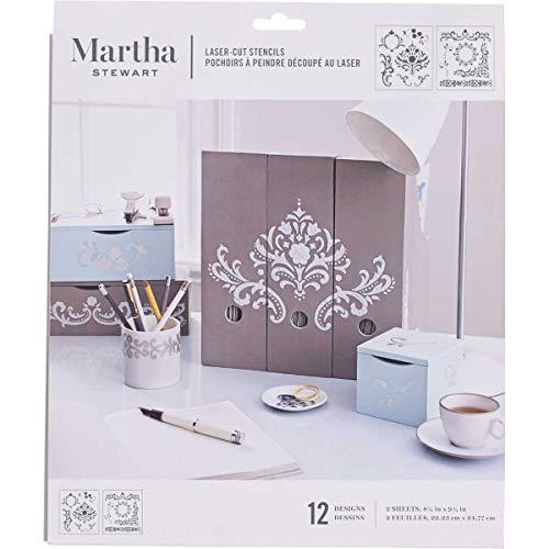 Plaid Enterprises Inc. Martha Stewart - Plantilla de Estarcido (tamaño Mediano), diseño de Esquinas, Marcos y cenefas Florales