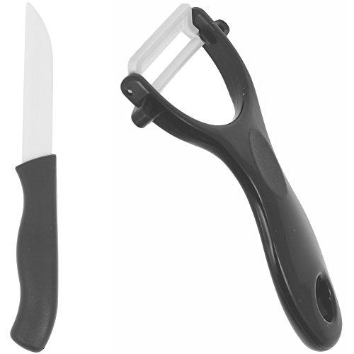 Promobo - Couteau Office Céramique Pro Lame 7,5cm avec Econome Céramique Noir