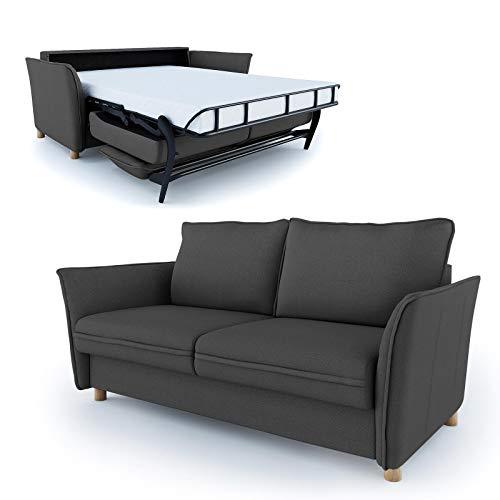 place to be. Schlafsofa 160 cm breit mit Bettkasten 3 Sitzer Sofa mit Schlaffunktion ausklappbar Bettsofa Gästebett Dunkelgrau Eiche massiv