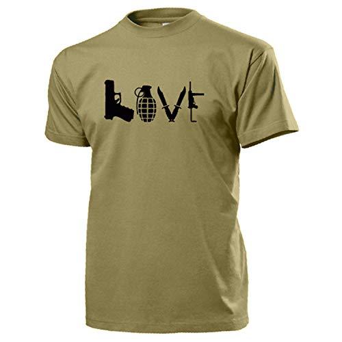 Love Waffen Pistole Granate Messer Kampfmesser MP - T Shirt #14610, Größe:M, Farbe:Sand