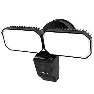 Floodlight Camera, Samzuy Outdoor Security Camera 1080P, Motion-Activated Lights Night Vision Camera, 2-Way Talk and Siren Alarm, 2800-Lumen Brightness, Waterproof