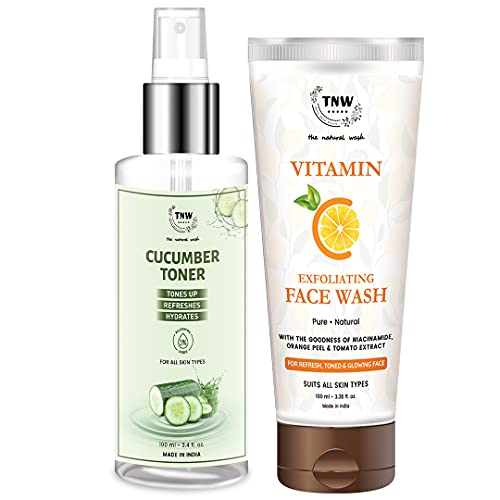 TNW-The Natural Wash Vitamin C Exfoliating Face Wash and Cucumber Toner for Glowing and Fresh Skin   Chemical-Free Skincare Products   Skincare with Natural Ingredients