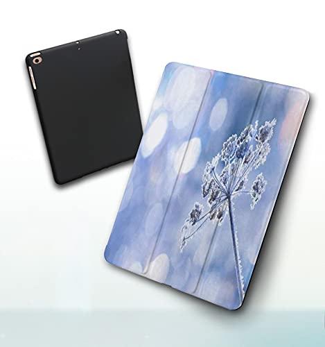 iPad Custodia Compatibile con New iPad 9.7 Pollici,Cumulo di neve Coperto Neve Meteo Dicembre Gelo Clima Congelato Pianta Natura Gel iPad Air 6a Gen  5a Gen Case 2017 2018, Case per Tablet in PU,