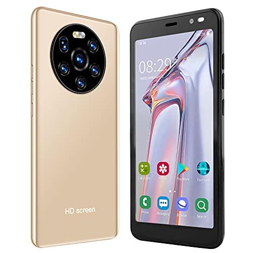 BOLORAMO Smartphone, Mate40 Pro 5.45in HD Pantalla Teléfono Móvil Tarjeta Dual Doble Modo De Espera con Función De Carga Rápida WiFi FM GPS, para Regalo De Cumpleaños 512 MB + 4 GB(Oro)