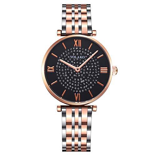Powzz ornament Gypsophila - Reloj de pulsera para mujer, correa de acero, cuarzo, color negro y dorado