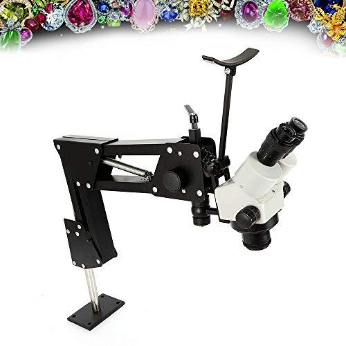 TFCFL Micro Inlaid Mirror Multi-Directional Microscope,Microscope Gem Diamond Setting Machine with Stand, with Spring Bracket 7X-45X Jewelry Tools (85mm)