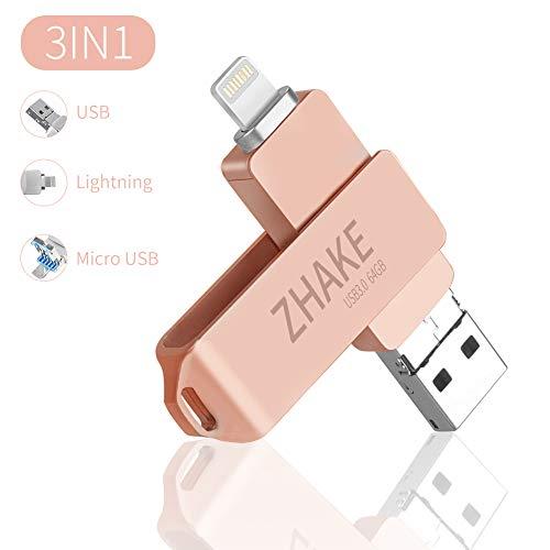 64GB 3.0 USB Stick für iPhone Speicher Stick iPad Lightning,iOS Speichererweiterung für iPhone XS/XR/5/6/7/8,iPad,iPod,Computer,Mac,Laptop,PC (Roségold)