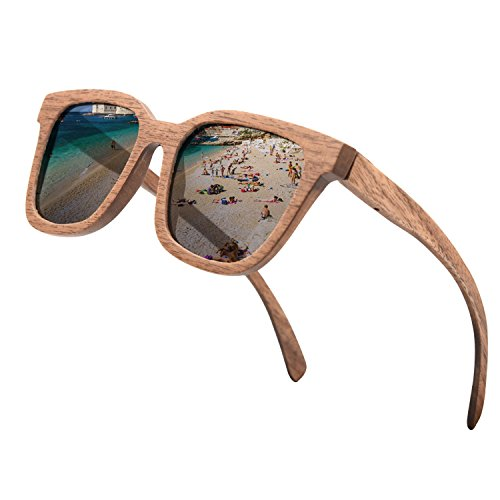 ABLIBI Mens Wood Sunglasses Polarized Shades for Women in Wood Box (Wulnat)