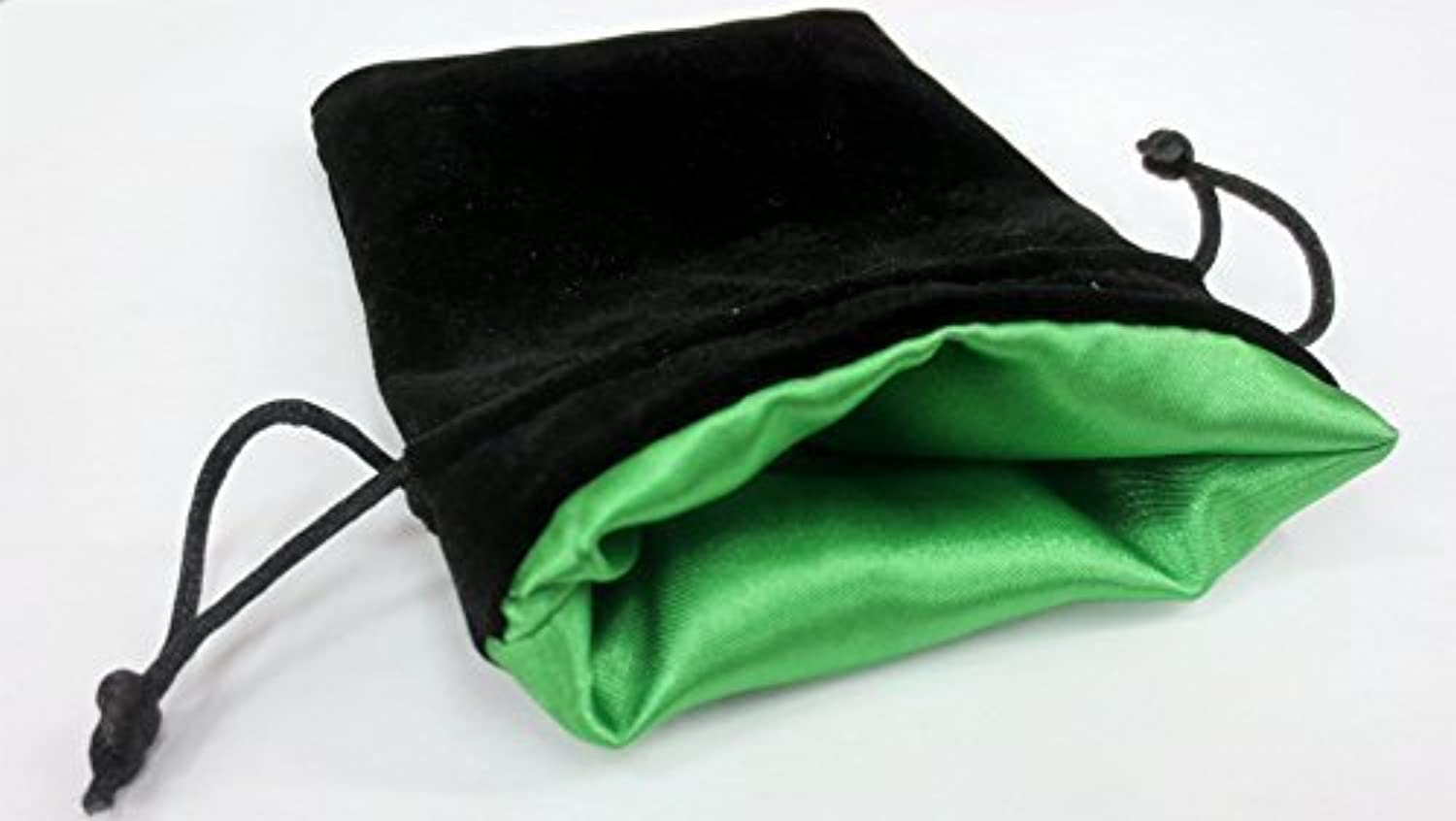 4x5 Elven Green Premium Black Velvet Dice Bag with Strong Green Satin Lining (Dice Bag Capacity is 5 Sets   35 Dice) by DnD Dice