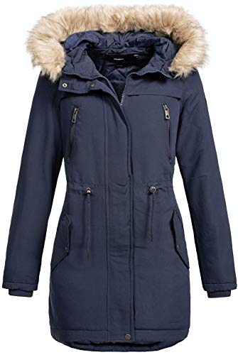 VERO MODA Damen Winterparka Jacke Breeze Agnes Fellkapuze 10198904 Night Sky M