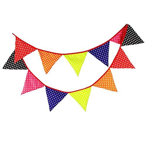 Punto de onda multicolor Banderines , bandera de triángulo elegante para fiestas de cumpleaños Ducha de bebé Decoración del hogar 10.5 Ft