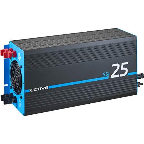 ECTIVE 2500W 12V zu 230V Reiner Sinus-Wechselrichter SSI 25 mit MPPT-Laderegler, Batterie-Ladegerät, NVS- und USV-Funktion