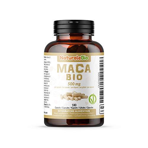 Maca Kapseln Bio (180 kapseln) 500mg. 100{ab2d0e81181b6225903201a455b4b8231d24e639c0c1e13129b04842154e9e76} Gelatiniert, Natürlich und Rein, hergestellt in Peru aus Bio Maca Wurzel. NaturaleBio