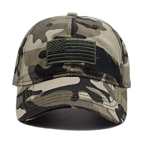 MANMESH HATT American Flag Embroidered Hat, Adjustable Washed Distressed Camo Baseball Cap for Men Women (American Flag Camouflage Green, one Size)