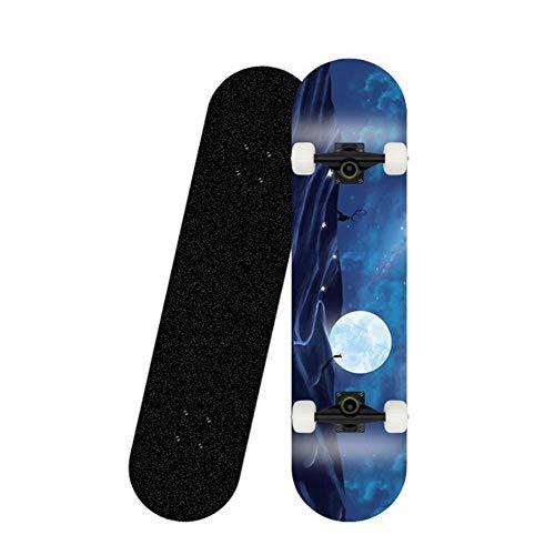 Skateboard 31x8 Zoll komplettes Cruiser-Skateboard, 7-lagige konkave Oberfläche aus kanadischem Ahorn-Doppelkickdeck, All-in-One-Skateboard für Anfänger-Mond