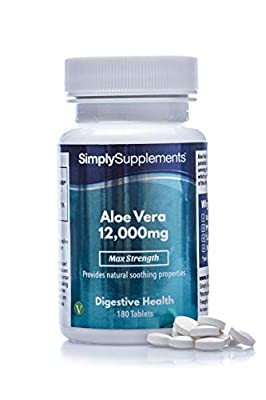 Aloe Vera Tablets 12,000mg   Digestive Support Supplement   Vegan & Vegetarian Friendly   180 Aloe Vera Extract Tablets = 3 Month Supply   Manufactured in The UK